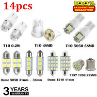 14X White LED Interior Package Kit For T10&31mm Map Dome License Plate Lights US