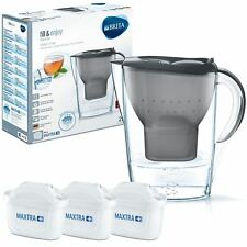 BRITA Marella MAXTRA+ Plus 2.4L Water Filter Jug + 3 Month Cartridges Pack, Grey
