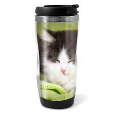 Adorable Sleeping Cat Travel Mug Flask - 330ml Coffee Tea Kids Car Gift #15677