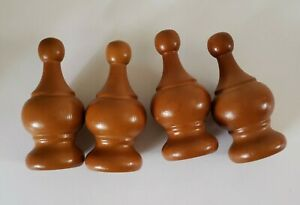 Vintage Turned Wood Finial Bed Post Caps Window Rod Ball Topper Furniture