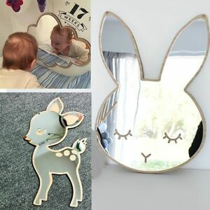 Children Cartoon Decorative Mirror Bathroom Baby Room Rabbit Star Wood Acrylic M