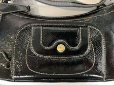 NEW Perlina Top Zip Distressed Patent Bag- Black
