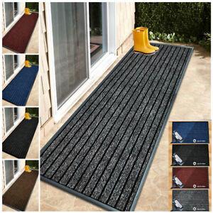 Non Slip Rubber Backed Door Mat Indoor Outdoor Hallway Runner Rug Washable Rugs