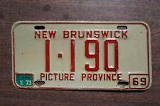 1969 1970 1971 New Brunswick Canada License Plate # 1-190