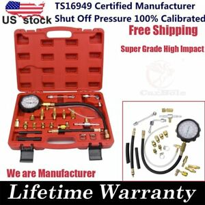 140 PSI Gasoline Fuel Injection Pump Pressure Gauge Tester Test Tool Kit w/ Case