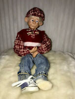 """Clay Art Doll Old Man With Blue Eyes 16"""" Figurine"""