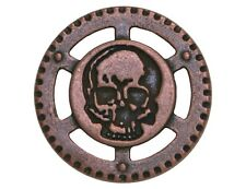 6 Dill Steampunk Skull 7/8 inch ( 23 mm ) Metal Buttons Antique Copper Finish