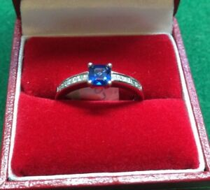 18CT White Gold Square Sapphire & Diamond Ring in Size O RRP £2250