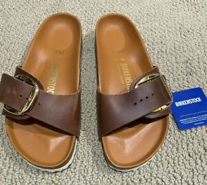 Women's new Birkenstock Madrid Big Buckle Cognac oiled leather sandals SIZE US 7