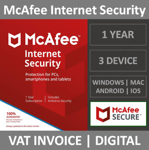 McAfee Internet Security 2021   3 Device   1 Year   Windows/MacOS/Android/iOS
