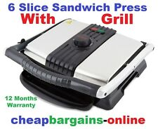 6 SLICE SANDWICH PRESS WITH GRILL JAFFLE IRON TOASTIE MAKER NON STICK HUGE PLATE