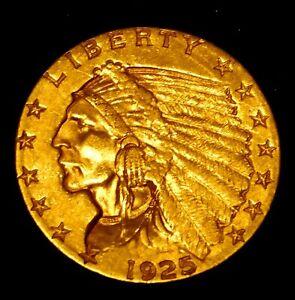 1925-D Dollar Indian Head Quarter Eagle (Denver Mint) Rare US Gold Coin