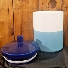 Stoneware Pet Treat Jar, Royal Blue & Teal, Boots & Barkley Dogs Cats SHIPS FREE