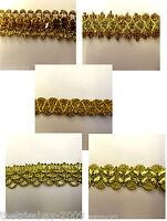 Metallic Gold Sequined Designer Braid/Gimp/Trim Craft/Haberdashery £1.49 m*