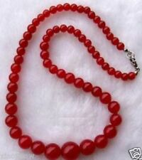 Beautiful 6-14mm Exquisite Red Ruby Gemstone Jewelry Necklace 17""