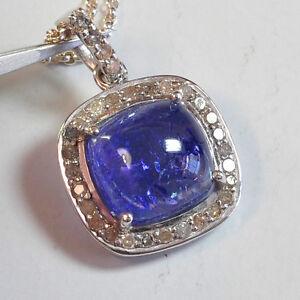 "Rhodium Sterling Silver Diamond Tanzanite Pendant Necklace 16"""