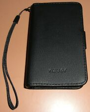 Navor Leather Wallet Flip Cover Case for Apple iPhone 4/4s, Black with Strap