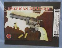 NRA Vintage American Rifleman Judge Roy Bean's 45 Colt Pistol Metal Decor Sign