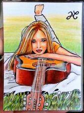 Original Sketch Card Portrait Music Singer Blonde Woman Lying Guitar Spring ART