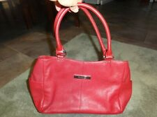 CALVIN KLEIN Medium Red Leather Shoulder Hobo Tote Satchel Purse Bag EEUC