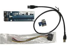 Pcie PCI-E Express 1x To 16x Extender Riser Card Adapter Power BTC Cable USB 3.0
