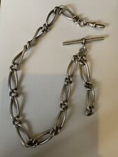 More details for birmingham silver 1886 pocket watch chain *unusual links*