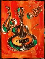 GUITAR JAZZ  Mark Kazav  Abstract Modern CANVAS Original Oil Painting 893RHERJ