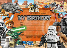 Boys Lego star wars Birthday Party Invitations Lego star wars movie, X 8 CARDS