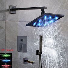 "8"" LED Rainfall Shower Head Faucet Single Handle Wall Mount Mixer Tap Bronze Set"