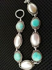 Carolyn Pollack Turquoise And Pearl Bracelet