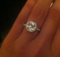 2.70 Ct Split Shank Cushion Cut Halo Diamond Engagement Ring EGL USA 14KW