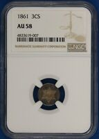 1861 Three Cent Silver. NGC AU58, PQ Toned. ET2129/BLN