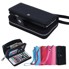 PU Leather Wristlet Cash Clutch Wallet Card Slot Case Cover For Phone lot cases
