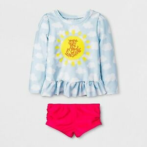 Toddler Girls' 2pc Rash Guard Set - Cat & Jack™ Blue 2T