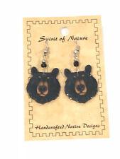 WOOD BADGE SPIRIT OF NATURE BLACK BEAR HEAD EARRINGS  WOODBADGE