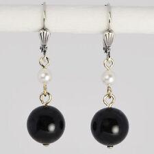 Grevenkämper Ohrringe Swarovski Perlen Silber Rund schwarz White Mystic Black