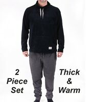Mens Fleece Pyjama Set Warm Winter Ex Store Pyjamas PJ's New Cotton Blend Soft