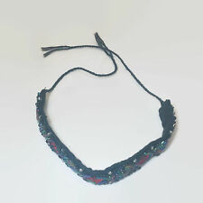 Seed & Bugle Beaded Black Cloth Tie Bracelet