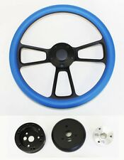 "14"" Steering Wheel Sky Blue on Black Shallow Dish 65-69 Mustang Plain Center"