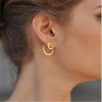 Simple Women Circle Round Ear Stud Earring Minimalist Gold Earrings Jewelry New