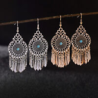 Vintange Women's Turquoise Bohemian Boho Long Tassel Dangle Drop Hook Earrings