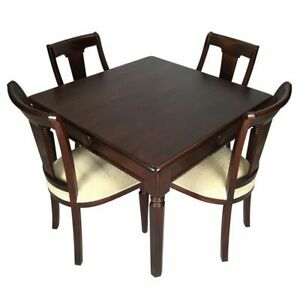 Antique Style Solid Mahogany Wood Square Dining Table and Chairs110cm