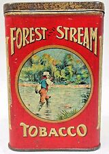 circa 1920 FOREST & STREAM TOBACCO Fly Fisherman pocket tobacco tin *