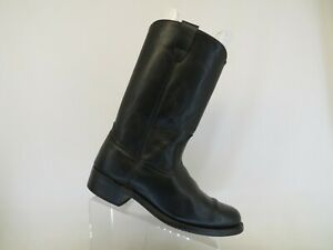Black Leather Western Cowboy Boots Mens Size 9.5 EE
