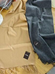 """NEW! LOT OF 2 SCARVES! 100% CASHMERE! COLE HAAN!! Camel & Charcoal!  60"""" FRINGED"""
