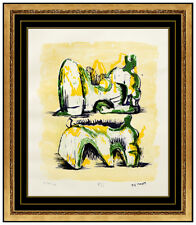 Henry Moore Original Color Lithograph Signed Reclining Figures Sculpture Artwork