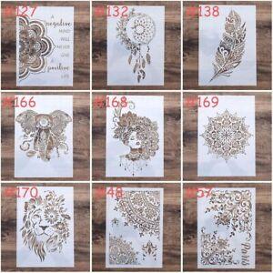 A4 Mehndi Henna Mandala Lion Lady Elephant Plastic Stencil Reusable Mylar Flexi