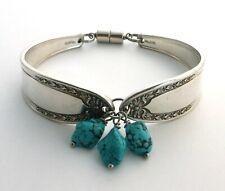 "Bridal Wreath 1915 spoon bracelet antique jewelry Howlite Turquoise 7.25"" medium"
