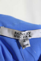 Badgley Mischka Womens Short Sleeve Sweetheart Neck Sheath Dress Blue Size 4