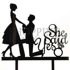 Wedding Cake Topper Engagement Romantic Black Acrylic Decoration With Ring